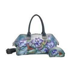 Women's Anuschka Hand Painted Leather Wide Convertible Tote ($342) ❤ liked on Polyvore featuring bags, handbags, tote bags, casual footwear, casual handbags, handbags totes, leather tote purse, hand bags, leather handbags and leather man bags