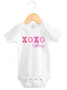 XOXO Kiss Hug Baby Girl Name Onesie | Personalized Baby Gifts | Word On Baby