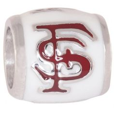 "Teagan Collegiate Collection Bead: Florida State Logo on White Bead FSU6.  925 Silver & Enamel.  This is a ""Teagan"" bead and it is compatible with Pandora, Biagi, Zable, Brighton, Troll and many other European style bracelets. As with any Teagan Bead, it is a high quality nice weight bead."