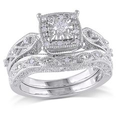 the style is so beautiful!!!!1/5 CT. T.W. Diamond Cascading Bridal Set in Sterling Silver