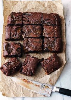 Caramel Brownies with Pretzel Crust