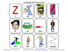 Initial Z: Free Speech Therapy Articulation Picture Cards-with several ideas/activities to use with them. From Testy yet trying. Pinned by SOS Inc. Resources @SOS Inc. Resources.