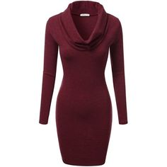 J.TOMSON Women's Long Sleeve Cowl Neck Slim Fit Knit Dress S-3XL (12... ($17) ❤ liked on Polyvore featuring dresses, cowl neck dress, purple dress, knit dress, slim fit dress and slimming dresses