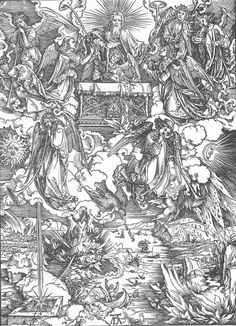 Durer, The Revelation of St John 7. The Seven Trumpets Are Given to the Angels, 1497-98, Woodcut