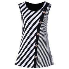 Plus Size Button Embellished Striped Tank Top - Black White 3xl Mobile