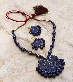 HandsOn by Buzzaria Blue Hand Painted Terracotta Necklace Set