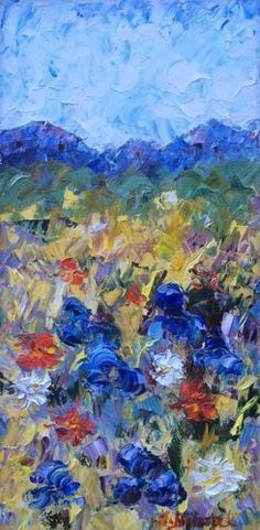 """Vail Meadow by Judith Babcock Oil ~ 20"""" x 10""""-Palette Knife Flower Art Painting """"Vail Meadow"""" by Colorado Impressionist Judith Babcock"""