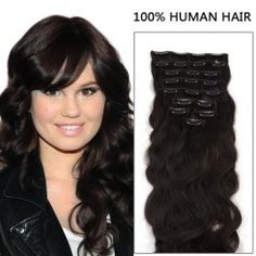 22 Inch 7pcs Fashionable Body Wavy Clip In Remy Hair Extensions 80g (#2 Darkest Brown)