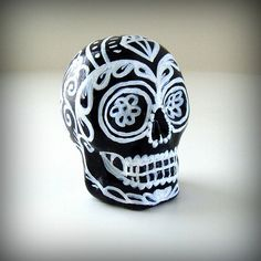 Ceramic Sugar Skull Black White Day of the Dead by sewZinski. $30.00 USD, via Etsy.