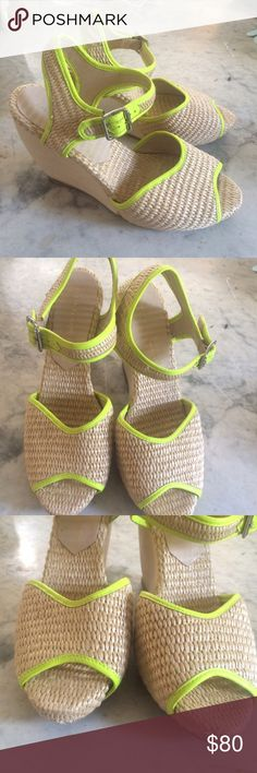"""Loeffler Randall Wedges Comfortable raffia wedges with bright yellow-green leather trim. In good used condition. The heel height is 4.5"""" inches, platform approximately 1"""". Just a small sign of wear on the front of the shoes, hardly noticeable when wearing them. Wood heels show no sign of wear and are in great shape. Made in Brazil. Stamped 9.5B on sole of shoes. I wear a size 9.5-10 and these fit like a glove! Open to reasonable offers Loeffler Randall Shoes Wedges"""