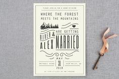 """Mountain Affair"" - Hand Drawn, Destination Wedding Invitations in Cream by Hannah Williams."