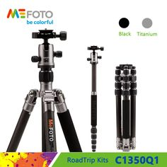 MeFOTO C1350Q1 Tripod Carbon Fiber Tripods For Camera Portable Monopod Q1 Ball Head 5 Section Max Loading 8kg DHL  //Price: $282.11//     #Gadget