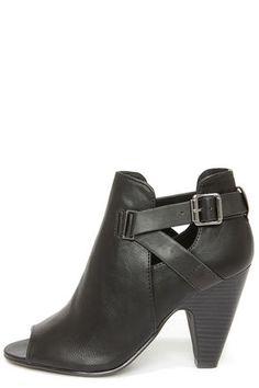 18fee7942e3 Soda Layla Black Cutout Peep Toe Booties. Leather HeelsProv ...