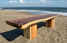 Timber slab dining table and chairs