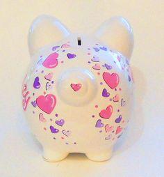 Piggy Bank Pink and Purple Hearts por LittleWhiteDogStudio en Etsy