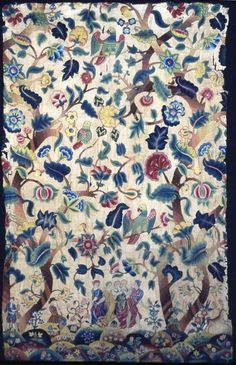 England    Panel, Late 17th/early 18th century    Linen and cotton, plain weave; embroidered with wool yarns in short, long, outline and satin stitches; French knots