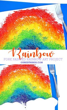 Our Fork Painted Rainbows is a really fun art process that's a nice switch from the usual paintbrush. St Patricks Day Crafts For Kids, St Patrick's Day Crafts, Diy Arts And Crafts, Holiday Crafts, Rainbow Crafts, Rainbow Art, Preschool Art, Preschool Activities, Dinosaur Activities