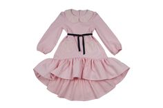 Delicate pink ruffles dress for little girls