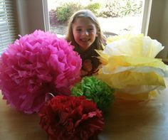 Easy Tissue Pom Pom Tutorial-Easy to Involve the Kids in helping with Decorating!