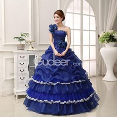 A Line Strapless One Shoulder Floral Beaded Blue Organza Quinceanera Dress