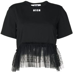 MSGM tulle hem T-shirt ($200) ❤ liked on Polyvore featuring tops, t-shirts, black, msgm and tulle top