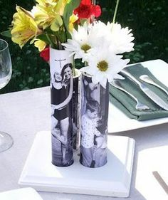 PVC pipe as a vase with a photo modge podged onto it.  Could be great for Mother's Day