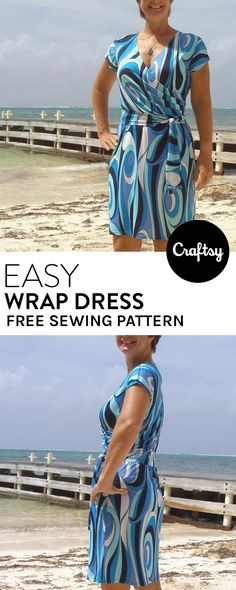 This simple yet beautiful wrap dress pattern sews up fast and makes the perfect summer outfit. Wear it as a beach cover up or dress it up for a night out on the town.