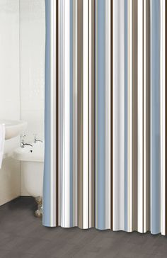 Wallace Blue and Brown Striped Fabric Shower Curtain