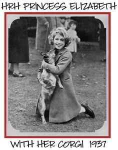 A young Queen Elizabeth with one of her Corgis