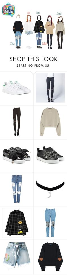 """LWS/My Little Telv."" by lws-official on Polyvore featuring Atsuko Kudo, adidas, Yves Saint Laurent, Puma, Dsquared2, Topshop, Boohoo, Off-White, Monki and kpop"