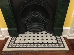 New Screen Fireplace Hearth redo Popular Olde English Tiles – Beautiful Hearth. Love these Victorian Geometric tiles in this heritage hous Fireplace Hearth Tiles, Cottage Fireplace, Inglenook Fireplace, Living Room With Fireplace, Fireplace Design, Fireplace Mantels, Victorian Fireplace Tiles, Old Cottage, Victorian Cottage