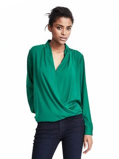 LOVE the drape and the rich color on this blouse.