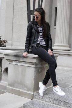 Emma's Style Guide | A Fashion Blog By Emma Honohan: Zips. Striped t-shirt+black skinny jeans+white sneakers+black leather jacket+sunglasses. Fall Casual Outfit 2016