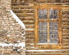 Rustic Winter Decor Log Cabin Photo Wyoming Snow