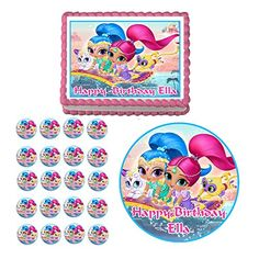 Shimmer and Shine Edible Birthday Party Cake Cupcake Toppers Icing Decorations Best Selling Prod 75 round * Learn more by visiting the image link.