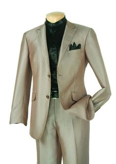 SKU#RE4211 Single Breasted 2 Button Slim Suit Taupe $185