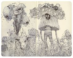 "Wasps by James Jean - ballpoint pen on paper, 10 x 9"", 2011."