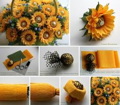 Candy Flowers, Tissue Paper Flowers, Diy Flowers, Diy Bouquet, Candy Bouquet, Chocolate Flowers Bouquet, Candy Arrangements, Sunflower Party, Diy And Crafts