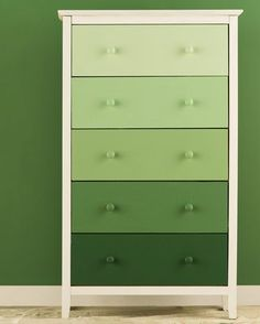 Weekend Warrior Project: Ombre Dresser from Wayfair. Break out the paint and DIY new life into an unfinished (or just plain tired) dresser. Refurbished Furniture, Paint Furniture, Upcycled Furniture, Kids Furniture, Furniture Stores, Girl Dresser, Green Dresser, Diy Dresser Makeover, Furniture Makeover