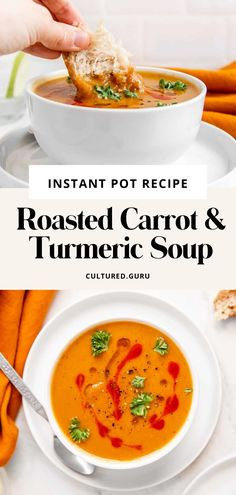 This Vegan, Instant Pot Roasted Carrot and Turmeric Soup is made with freshly roasted carrots, squash, onions, turmeric, and vegetable broth for a quick and easy soup you'll love. This recipe is perfect for an appetizer, or a sandwich side and comes together in about 1 hour and 30 minutes. #soup #carrot #turmeric #anitinflammatory #guthealth Thanksgiving Dinner Recipes, Vegetarian Recipes Dinner, Whole Food Recipes, Soup Recipes, Healthy Recipes, Eat To Live Diet, Turmeric Soup, French Soup, Indian Soup
