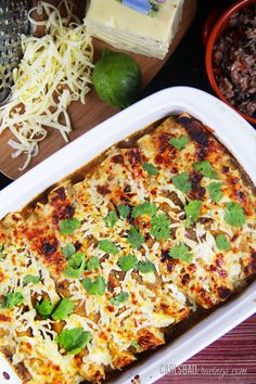 Salsa-Verde-Honey-Lime-Pepper-Jack-Chicken-Enchiladas: 4 chicken breasts (1 1/2 pounds)  10 Minute Marinade 1/3-1/2 cup honey* 1/2 cup lime juice 1 tablespoon chili powder ½ teaspoon smoked paprika ½ teaspoon cumin 1/2-1 teaspoon chipotle powder ¼ teaspoon cayenne pepper (optional) 1 teaspoon onion powder 1 teaspoon garlic powder ½ teaspoon salt ¼ teaspoon black pepper  1 16 oz. bottle salsa verde 8-10 flour tortillas 3 cups Pepper Jack cheese, shredded 2 cups Monterey Jack Cheese, shredded