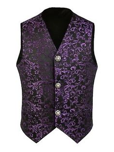 Mens Waistcoat Vest Black Brocade Gothic Steampunk Wedding VTG Emopunk 05 Steampunk Wedding, Gothic Steampunk, Men's Waistcoat, Cycling Tops, Superdry Mens, Field Jacket, Navy And Green, Green Jacket, Vintage Fashion