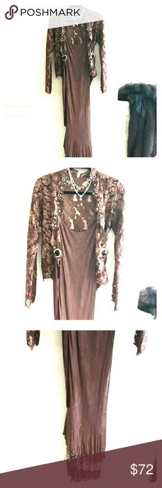 ROBERTO CAVALLI (CLASS) GORGEOUS SLIMMING DRESS !! Stunning Chocolate Brown ultra slimming dress/gown starting with spaghetti straps & ending in 3 flowing ruffles with 1 LEOPARD RUFFLE IN THE MIDDLE OF THE 3 !!!  SZ 4 (IT FITS JUST RIGHT & CINCHES YOU IN TOO;) Class Roberto Cavalli Dresses