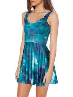 Galaxy Teal Scoop Skater Dress (WW $85AUD / US $68USD) by Black Milk Clothing