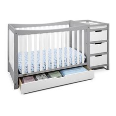 Graco Cribs Remi 4-in-1 Convertible Crib and Changer in White/Pebble Gray