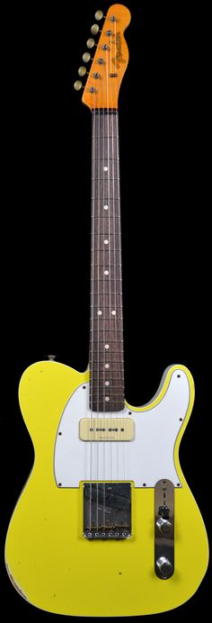 Wild West Guitars : Fender 2 Tone Telecaster w/ P90 Faded Graffiti Yellow / Olympic White Back
