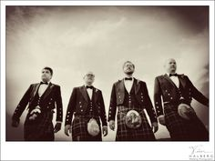 Grooms and Groomsmen in kilts? scottish wedding? a boat? Chris took things to a new level sporting a scottish kilt at his San Francisco wedding - black and white groomsmen
