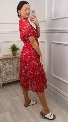 Red dress, red summer dress, red tiered dress, midi dress, floral dress, red floral dress