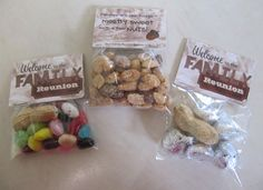 """On the big welcome table: a bowl of candy with a few nuts in it """"Comstock Family Reunion: mostly sweet with a few nuts"""""""