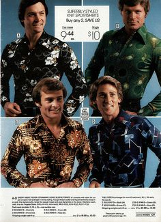1978  Montgomery Ward Christmas Catalog Men wore silk flowered shirts.  usually with a gold chain